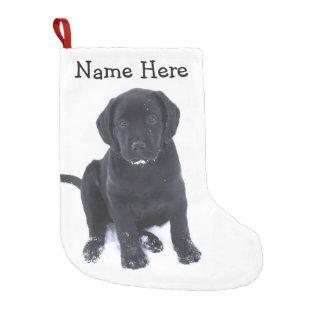 Meia De Natal Pequena Labrador preto - filhote de cachorro da neve