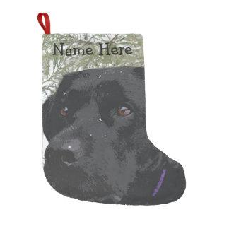 Meia De Natal Pequena Labrador preto - pinhos Sparkling