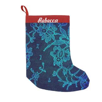 Meia De Natal Pequena Laço gótico dos azuis marinhos do Victorian