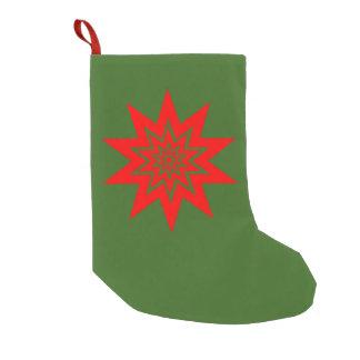 Meia De Natal Pequena Laser vermelho Starburst no verde