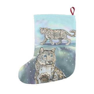 Meia De Natal Pequena Leopardo de neve