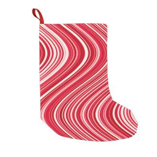 Meia De Natal Pequena Linhas onduladas em vermelho e em branco