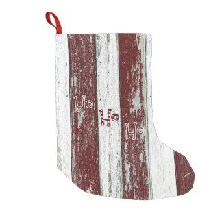 Meia De Natal Pequena Listrado vermelho e branco rústico Ho Ho Ho