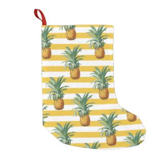 Meia De Natal Pequena listras amarelas dos pinepples