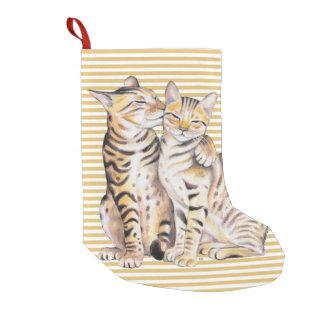 Meia De Natal Pequena Listras do ocre dos gatos de Bengal