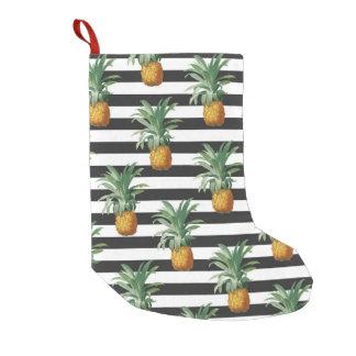 Meia De Natal Pequena listras dos abacaxis cinzentas