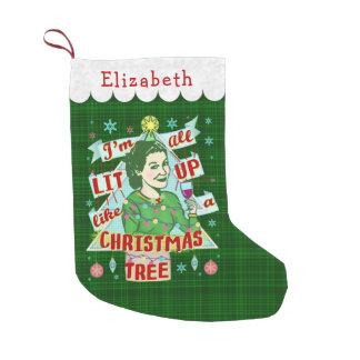 Meia De Natal Pequena Lit retro da mulher do humor do bebendo do Natal