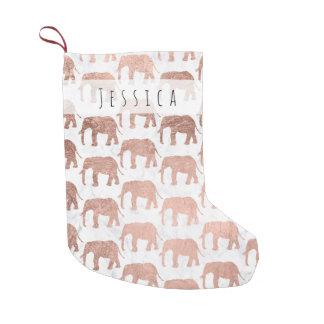 Meia De Natal Pequena Mármore cor-de-rosa do branco dos elefantes do