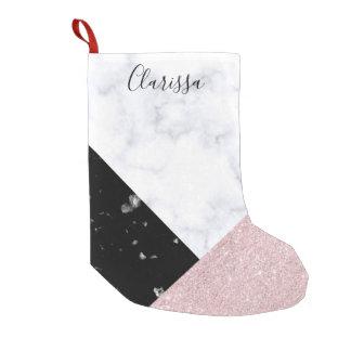 Meia De Natal Pequena Mármore preto branco do brilho cor-de-rosa
