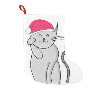 Meia De Natal Pequena Meia afortunada do Natal do gato