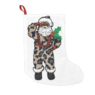 Meia De Natal Pequena meia africana de Papai Noel do leopardo