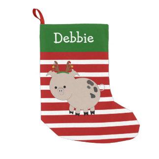 Meia De Natal Pequena Meia alegre do porco do animal de estimação da