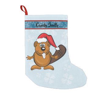 Meia De Natal Pequena Meia bonito do castor do papai noel