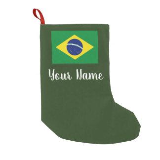 Meia De Natal Pequena Meia brasileira personalizada do Natal da bandeira