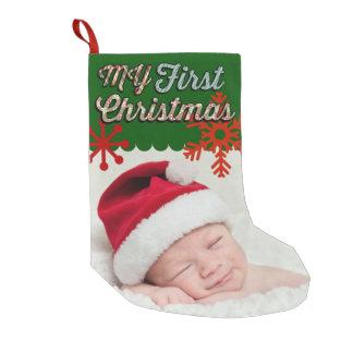 Meia De Natal Pequena MEIA da FOTO do Natal do bebê primeira