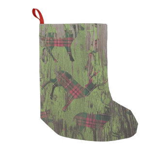 Meia De Natal Pequena meia de madeira do Natal do feriado rústico dos