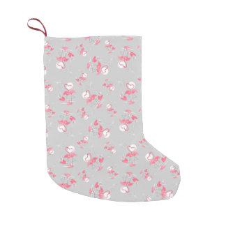 Meia De Natal Pequena Meia do amor do flamingo multi frente e verso