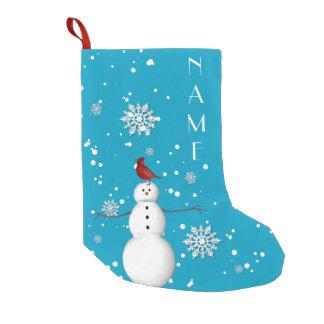 Meia De Natal Pequena Meia do boneco de neve