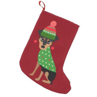 Meia De Natal Pequena Meia do Natal do cão do Pinscher diminuto