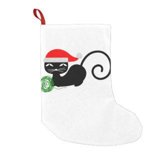 Meia De Natal Pequena meia do Natal do gato do papai noel do xmas