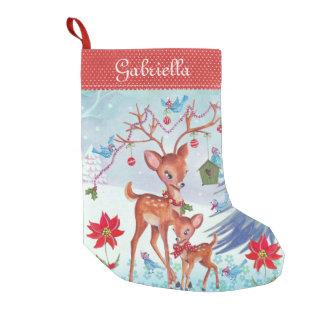 Meia De Natal Pequena Meia do Natal dos pássaros   do Natal dos cervos
