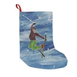 Meia De Natal Pequena Meia do tema do esqui