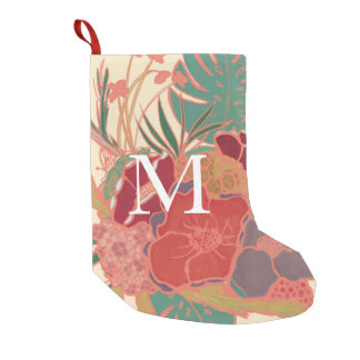 Meia De Natal Pequena Meia Monogrammed feminino cor-de-rosa floral do