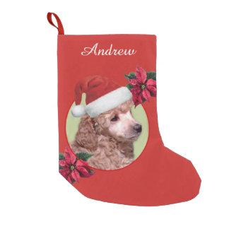 Meia De Natal Pequena Meia personalizada do cão de caniche do Natal