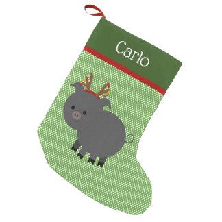 Meia De Natal Pequena Meia preta alegre do porco do animal de estimação