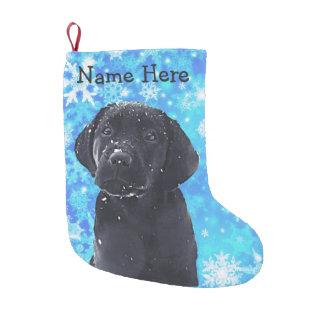 Meia De Natal Pequena Meia preta do Natal de Labrador