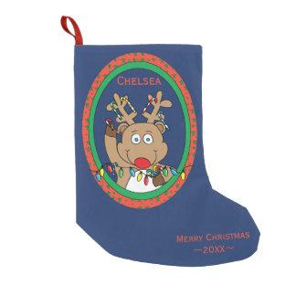 "Meia De Natal Pequena Meia ""ReindeerLights "" do Natal"