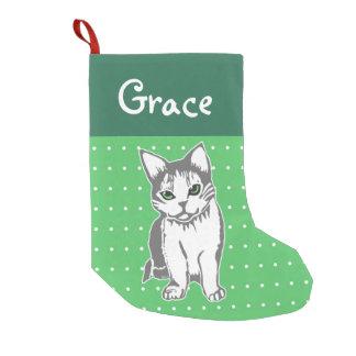 Meia De Natal Pequena Meia verde feita sob encomenda do Natal do gato do