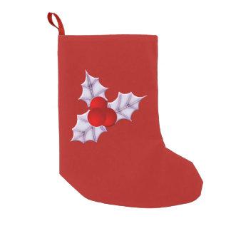 Meia De Natal Pequena Meias vermelhas do Natal das folhas & das bagas do