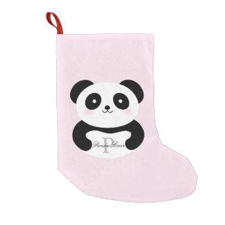 Meia De Natal Pequena Monograma feminino bonito do urso de panda do bebê