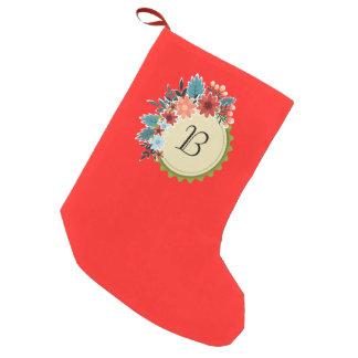 Meia De Natal Pequena Monograma floral na meia vermelha
