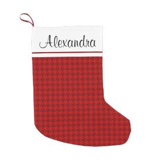 Meia De Natal Pequena Monograma rústico do teste padrão do vermelho e do