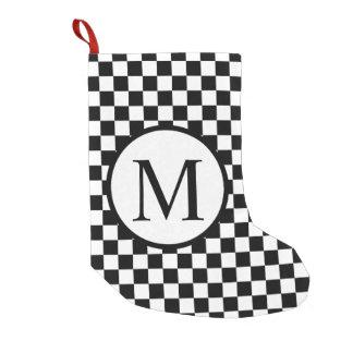 Meia De Natal Pequena Monograma simples com tabuleiro de damas preto