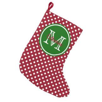 Meia De Natal Pequena Monograma vermelho e verde do feriado das bolinhas