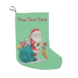 Meia De Natal Pequena Natal bonito do pai com brinquedos e presentes no