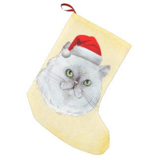 Meia De Natal Pequena Natal de Meowy! Um gato bonito com chapéu do papai