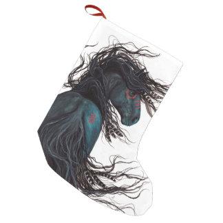 Meia De Natal Pequena Natal que armazena o cavalo majestoso Bihrle de