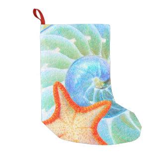 Meia De Natal Pequena Nautilus e estrela do mar