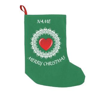 Meia De Natal Pequena Nome do costume da meia do Natal do coração