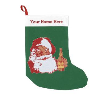 Meia De Natal Pequena Nome engraçado do Natal da cerveja preta retro de
