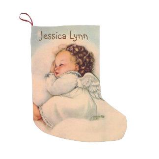 Meia De Natal Pequena O bebê que personalizado o anjo voa o dobro tomou
