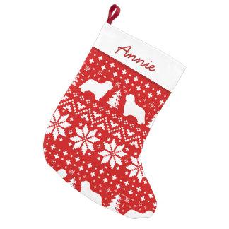 Meia De Natal Pequena O Collie farpado mostra em silhueta o teste padrão