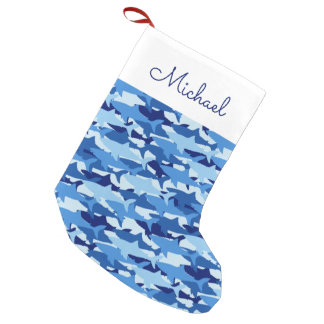 Meia De Natal Pequena O teste padrão | do tubarão azul adiciona seu nome