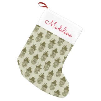 Meia De Natal Pequena O teste padrão Khaki | do abacaxi adiciona seu
