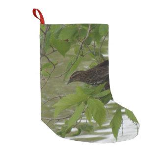 Meia De Natal Pequena o vermelho voou a pesca preta do pássaro de um