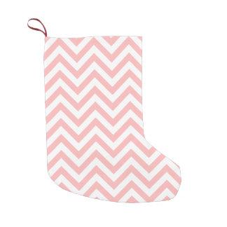 Meia De Natal Pequena O ziguezague cor-de-rosa e branco listra o teste